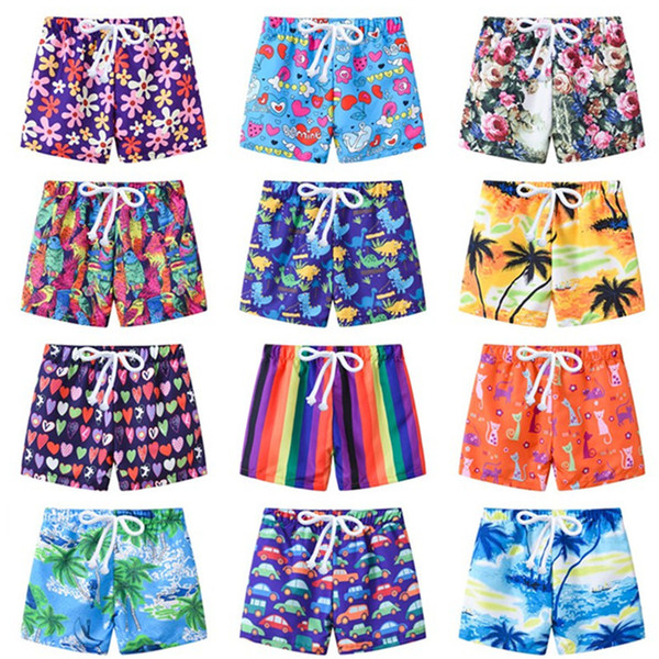 best selling Children cartoon Dinosaur flower print Swim Trunks 2019 Summer Baby boys Board Beach Shorts adjustable belt 13 colors Kids Clothing C6009