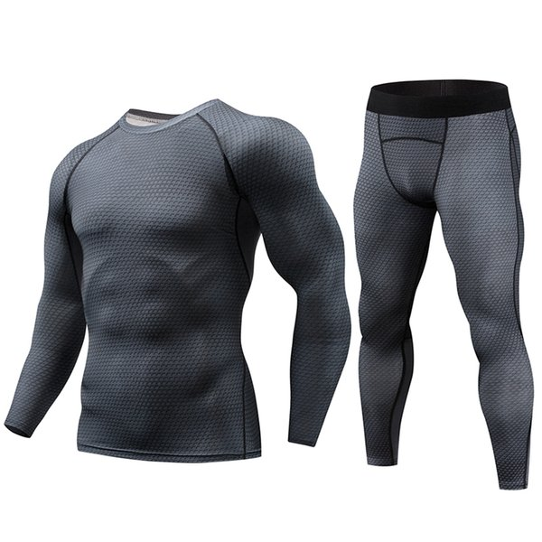 Best Selling Men's Tight-fitting Series Running T-shirt 2 Sets Long Wicking Breathable Tight-fitting Workout Clothes SH190717