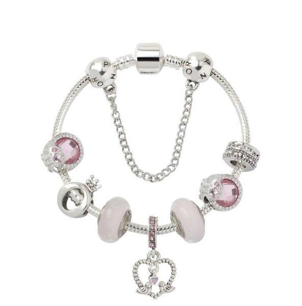 Высокого качество 925 серебряных Бриллианты стеклянной бусины женщина любовь браслет Подходит подарок Дня Европы Pandora ювелирных изделий шарма Валентины