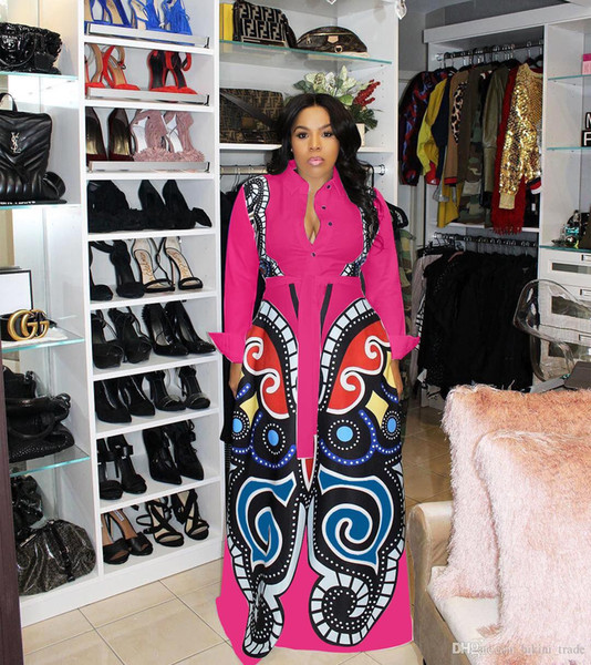 Nouvelle Rose rouge Grand Swing African Print Robes Femmes Vêtements Plus La Taille Sexy Élégant Papillon Imprimer Robe Robe Africaine Conception Vêtements