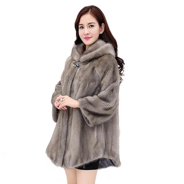 Плюс размер Куртка с капюшоном Свободная теплая зимняя куртка Parka 2019 Бутик-женщин Пальто из искусственного меха Средней длины высокого класса пальто из водной норки Верхняя одежда
