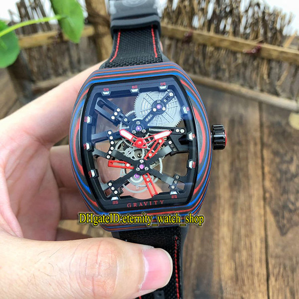 Top-quality MEN'S COLLECTION Vanguard V 45 T GR CS SQT BR (NR) Red Skeleton Dial Miyota Automatic Mens Watch Luminous fiber Case Watches