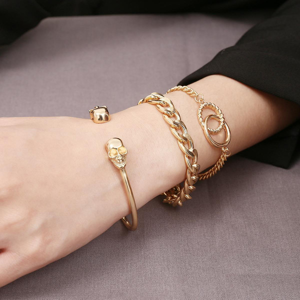 New Fashion Charm Bracelets for Women Simple Creative Skull Punk Metal Chains Gold Plated Alloy Multilayer Bracelet Wristbands