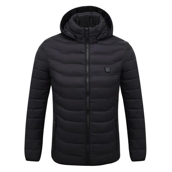 2018 зимняя куртка мужчины USB куртка с подогревом смарт термостат черный / красный с капюшоном повседневная парки мужчины пальто плюс размер верхняя одежда