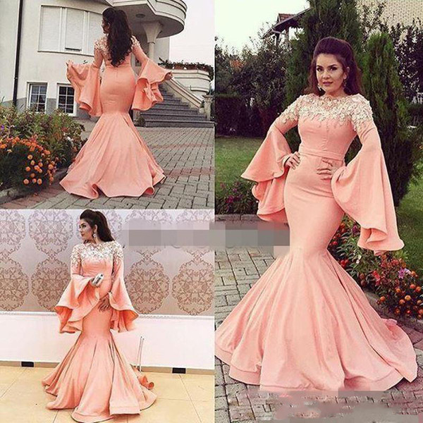 Arabic Style Mermaid Prom Dresses 2019 2020 Trumpet Long Sleeves Lace Appliques Evening Gowns Zipper Back Floor Length Dubai Party Dress Prom Dresses