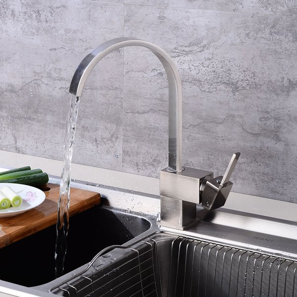 2019 2019 High Arc Kitchen Faucet Brass Kitchen Sink Faucets Cold Hot Water  Mixer Tap New Design Deck Mounted Faucets Brushed Nickel From Hymen, ...