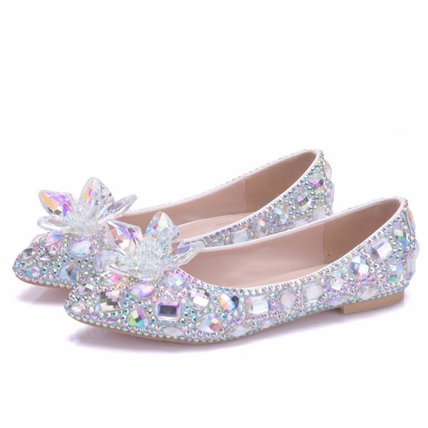 Crystal Queen Crystle Cinderella Shoes Rhinestone Flat heel Women Shoes Sexy Woman Wedding Flats Zapatos Mujer big size 34-43