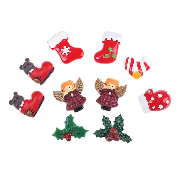 10pcs Mixed Resin Christmas Series Crafts Flatback Cabochon Scrapbooking Decorations Fit Hair Clips Embellishments Beads Diy