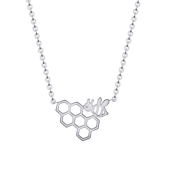 Oro Color de plata Panal de abeja Animal Colgante Cadenas de eslabones de metal Collar Gargantilla Colgante de moda Collar Regalo Femme Collier