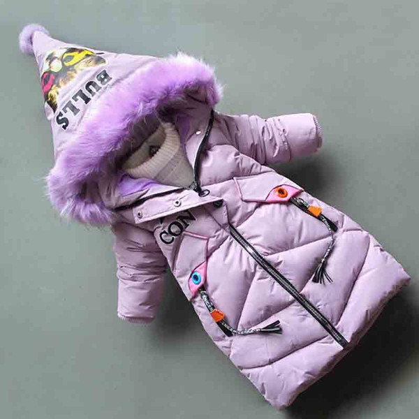 good quality 2019 New Winte Children Coats Fashion Girls Winter Thick Warm Cotton padding Parkas Girl Hooded Long section Outerwear