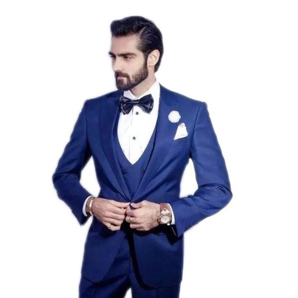 Custom Made Groom Tuxedo Ticket Pocket Groomsmen Peak Lapel WeddingSuits Best Man Bridegroom (Jacket+Pants+Vest)costume homme