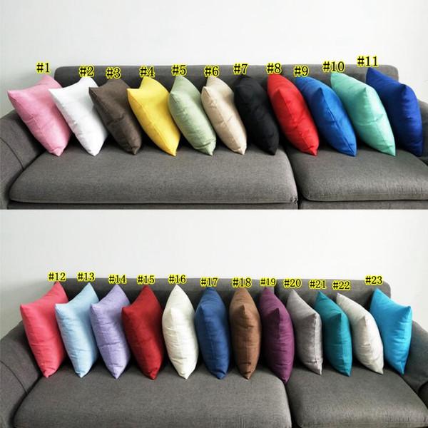 Kissenbezug Einfache Stil Reine Farbe Twill Platz Kissen Auto Sofa Taille Abdeckung Versteckte Reißverschluss Kissenbezug Multi Farbe Optional MMA1670