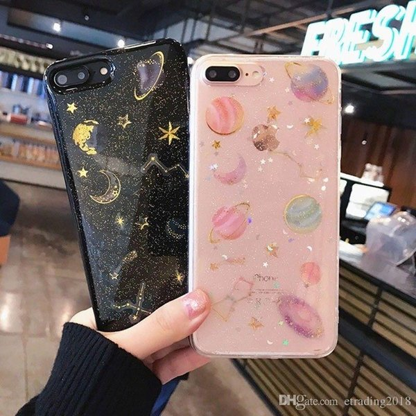 Force Charm Galaxy Planet Space Glitter TPU Phone 7 pour iPhone 7Plus X 6 6s 6Plus