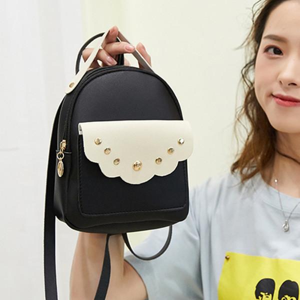 Маленький кожаный рюкзак письмо 2019 Новый лоскутное цвет kawaii школьный рюкзак мода сумка женские мини-рюкзаки A1