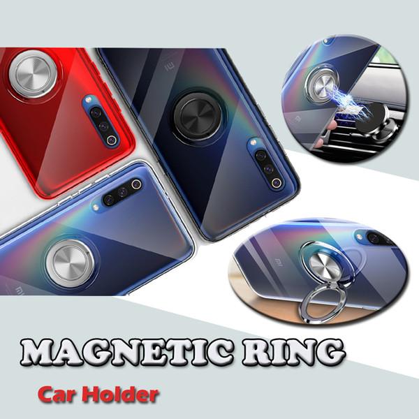 Clear Transparent Car Holder Magnetic Bracket Case Soft TPU Silicone Bumper Metal Finger Kickstand Full Cover For Xiaomi Mi 9 SE 8 Lite