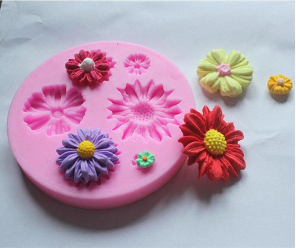 Silicone Mold Small Daisy Sugar Craft DIY Gumpaste Cake Decorating Clay Decoration Tools Baking Moulds