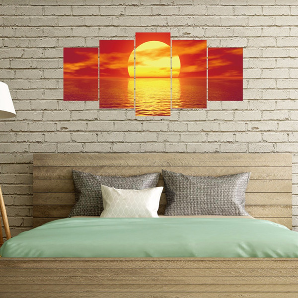New 5pcs/set Sunrise Over The Sea Combination 3D DIY Wall Stickers Home Decor Bedroom Poster Self-adhesive Landscape Art Mural