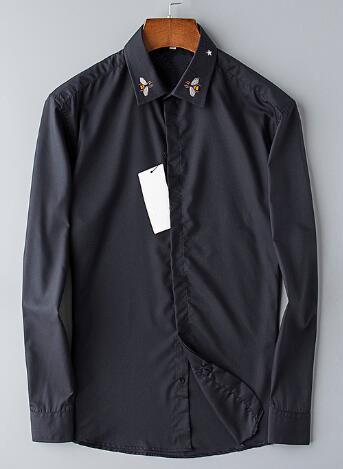 Express New Spring/Autumn Men Casual Shirts Bee Star Collar Long Sleeve Business Formal Shirt Fashion Mens Dress Shirt Black S-3XL