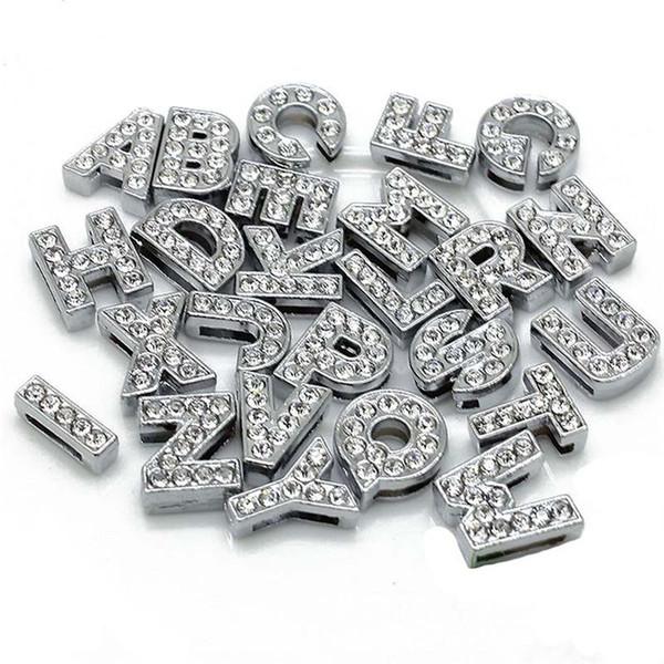 Pulseras de bricolaje 8 MM Perlas sueltas A a Z Letras Granos de plata Rhinestone Accesorios de joyería Pulsera de encanto de diapositivas -P