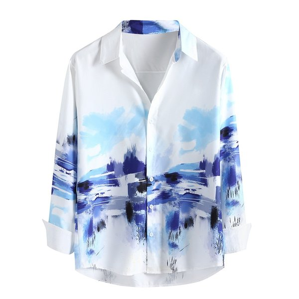 Erkek Gevşek Zarif Çiçekler bluz Baskılı Lump Göğüs Uzun Kollu Yuvarlak Hem Gömlek Asılı Serin Ince Pamuk bluzlar gevşek Tops