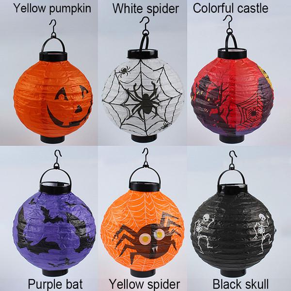 2019 Halloween Led Pumpkin Paper Lamp Spiders Skull Castle Pattern Light Halloween Decoration Props Pumpkin Hanging Lantern Kids Toys Bh2059 Zx From