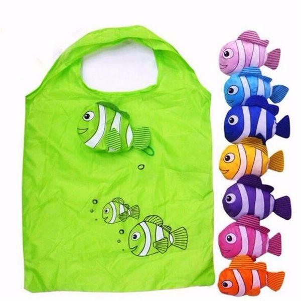 Wiederverwendbare Einkaufstaschen aus Nylon Faltbare Öko-Tasche Tropische Fische Tote Bag Große Kapazität Rose Lagerung Handtaschen Recycling-Beutel # 31263