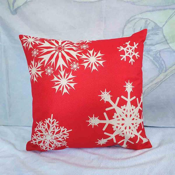 30pcs DHL Christmas Red theme Merry Christmas Milu deer Santa Claus snow Linen pillow cover funda de almohada tamaño: 45cm * 45cm