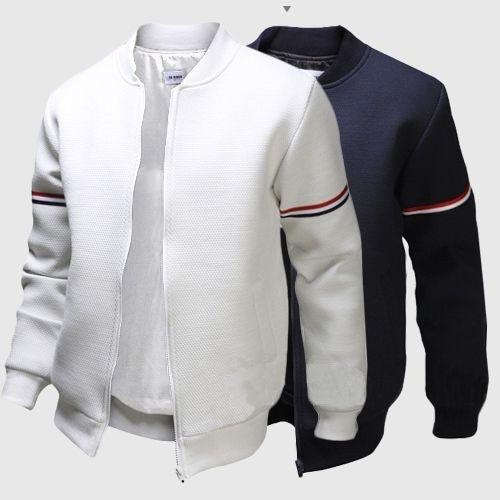 Novo Designer Mens Jaqueta Com Listrado Fita Gola Outwear Outono Moda Zíper Fino Mens Roupas