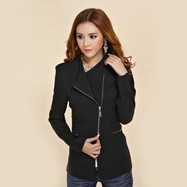 LVOERTUIG Moda Kadınlar Fermuar Blazer Suit Lady Örgün Dış Giyim Uzun Kollu Coat Slim Fit Ceket Tops (S, Siyah)