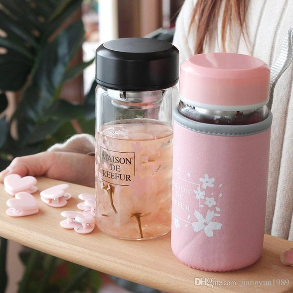 390ml Glass Water Bottle High Temperature Resistant Glass Sport Water Bottle With Tea Filter Infuser Bottle Nylon Sleeve DHL Free Shipping