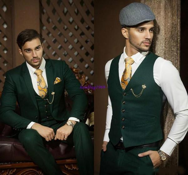 2019 Hot Recommend Dark caçador esmeralda Green Groom Smoking Notch lapela Blazer Homens Prom terno Suit (jaqueta + calça + colete + gravata + lenço)