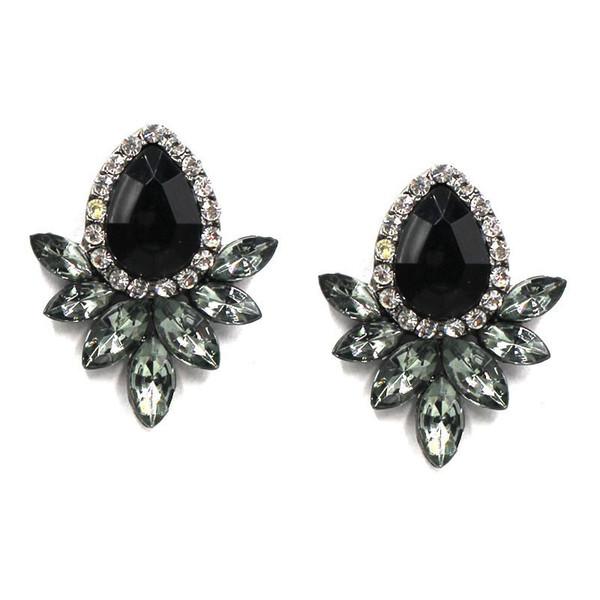 New Fashion Earrings Rhinestone Sweet Metal With Gems Ear Stud Earrings For Women Crystal Earring Wholesale Brincos FactoryW3208