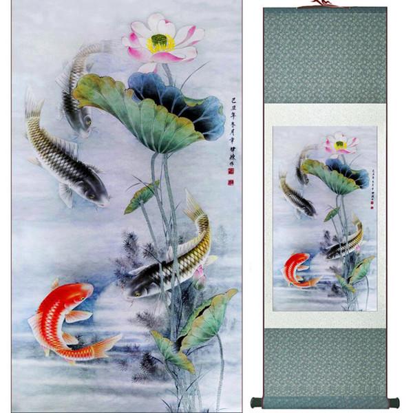 Рыба Живопись Шелковый Свиток Картины Традиционное Искусство Китайская Живопись 1906181750