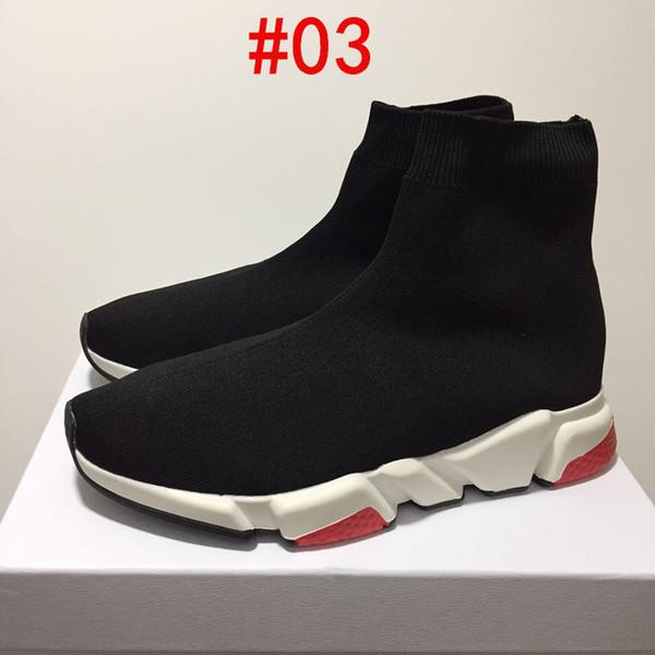 Paris Üçlü S Rahat Ayakkabılar Moda Marka Tasarımcısı Çorap Ayakkabı Hız Trainer Siyah Kırmızı Üçlü Siyah Çorap Sneakers Size36-45