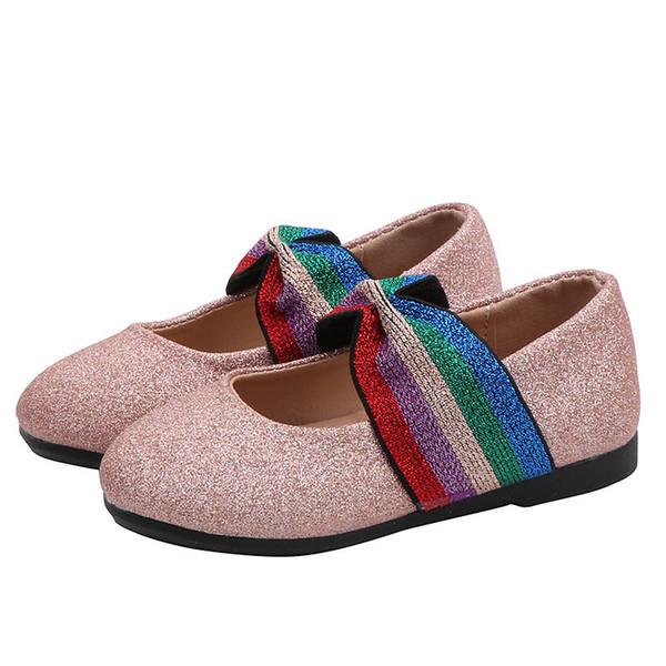 Compre Nuevo 2019 Otoño Zapatos De Diseño Para Niños Zapatos Para Niñas Arcoíris Brillan Zapatos De Princesa Zapatos De Vestir Casuales Zapatos Para