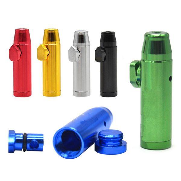 7 colori metallo tubi di tabacco a forma di proiettile alluminio snuff snorter tubo di fumo tabacco fumo tubo di tabacco proiettile pipa fumo BH1915 TQQ