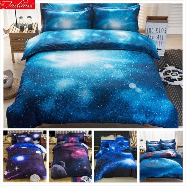 3D Galaxy Bedding Set Single Double Twin/Queen 2pcs/3pcs/4pcs Bedclothes Bed Linen Universe Outer Space Duvet Cover Kid Boy 1.5m