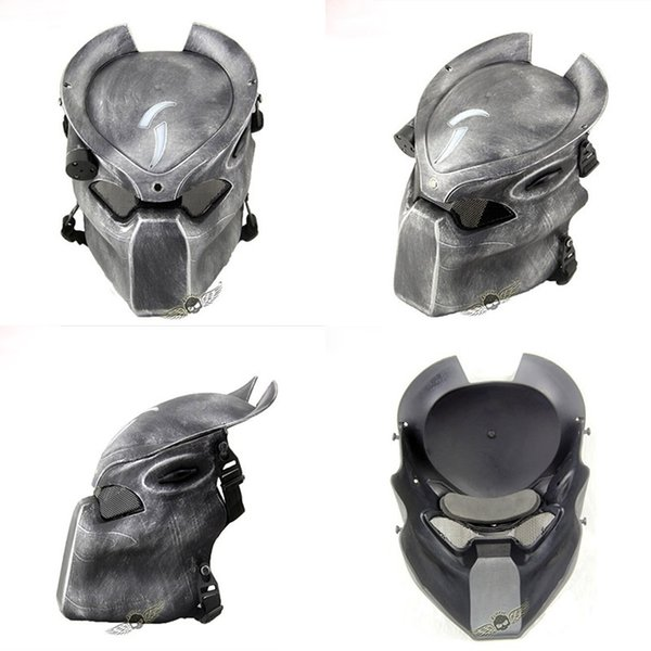 Alien Vs Predator Lonely Wolf Mask With Lamp Outdoor Wargame Tactical Mask Full Face Cs Mask Halloween Party T8190617
