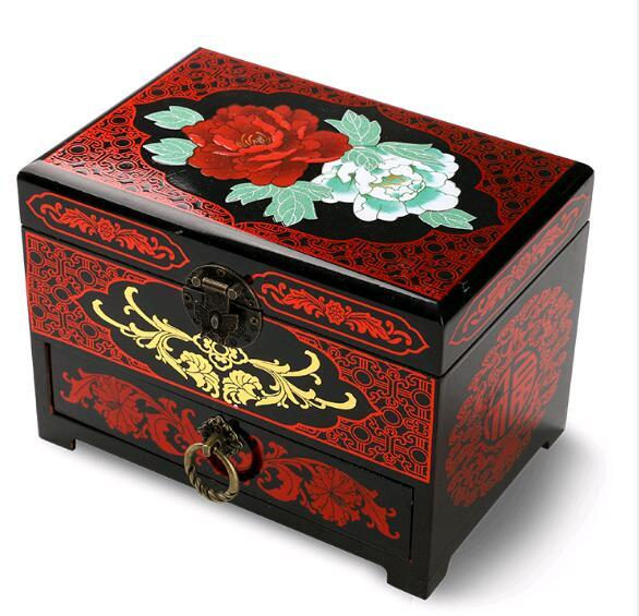 luxury Pingyao retro Chinese makeup box ring necklace multi-layer jewelry wooden High-end box bride wedding jewelry storage
