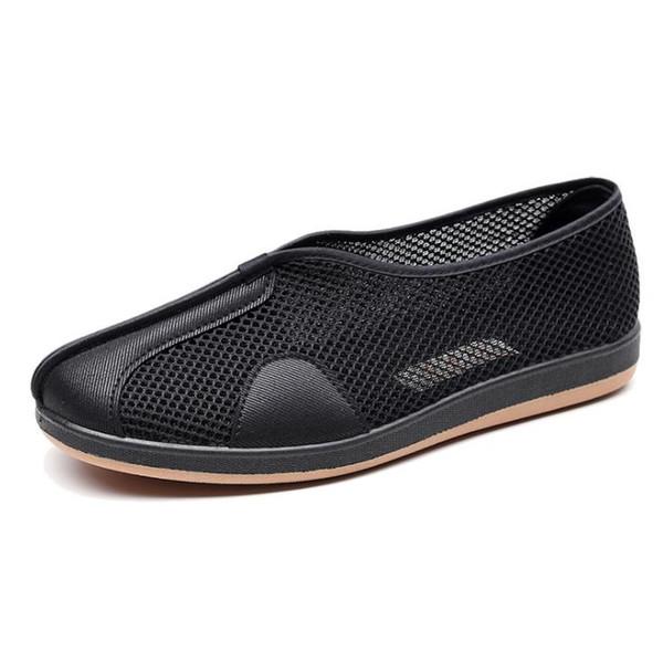 Ayakkabı erkek yaz nefes hollow ulusal rüzgar eski Pekin bez ayakkabı orta yaşlı örgü sprinkles Gu Shi Yuntou çalışmak