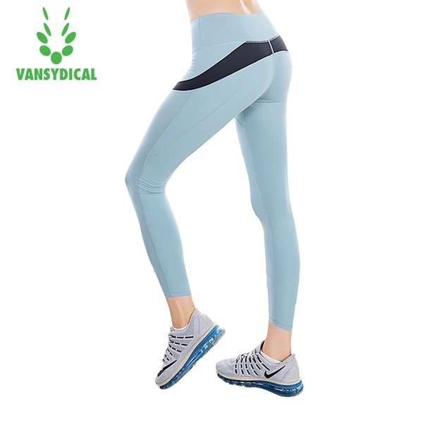 2017 Pantalon De Course Femmes Sport Leggings 3/4 Fitness Gym Yoga Collants Élastique Vansydical Patchwork Capri
