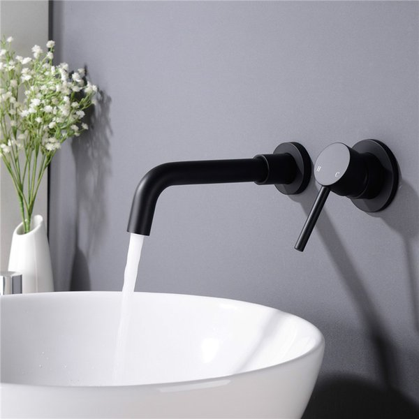 best selling Matte Brass Wall Mounted Basin Faucet Single Handle Hot Cold Sink Faucet Rotation Spout Burnished Gold