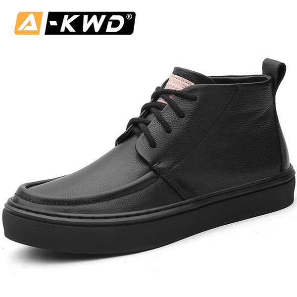 Fashion Autumn Black Shoes High Top Sneakers Men 2019 Breathable Elevator Shoes for Men Herren Schuhe Genuine Leather