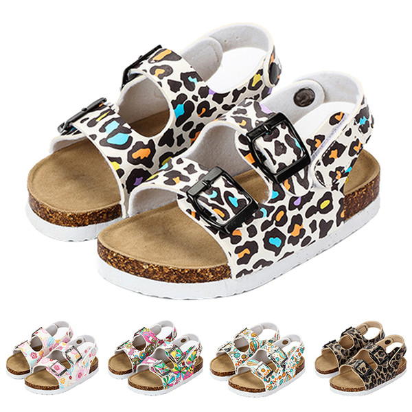 2019 Summer Girls Sandals Fashion Cork Leopard Comfortable Beach Sandals For Toddler Non Slip 2 Year Kids Slippers Shoes MX190726