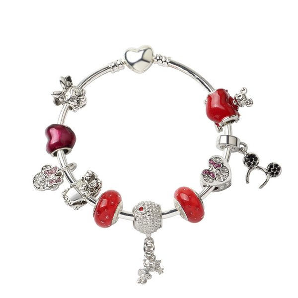 18 19 20CM Charm Apple Accessories Beads Bracelet sweet Mouse Pendant 925 Silver Bangle DIY Wedding Jewelry as a Valentine Christmas gift