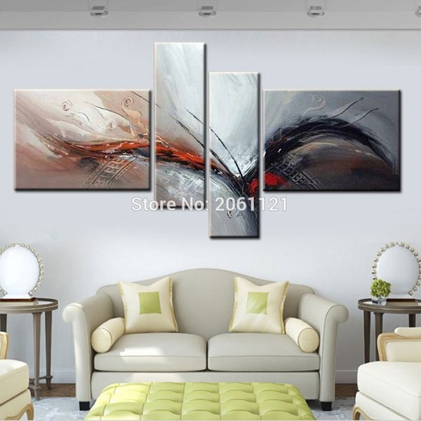 Handmade Modern abstract White gray Painting large wing birds Oil Picture abstract Wall Designs Art 4 Piece Home Decor Set
