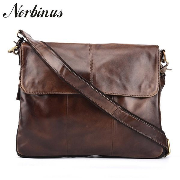 High Capacity Mens Vintage Cowhide Messenger Shoulder Bag Genuine Leather Document Bags Male Crossbody Business Briefcase