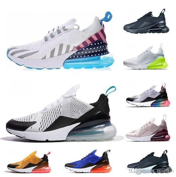 Compre Nike Air Max 270 Azul Hombre Mujer Running Shoes Zapatos De Diseñador Triple Blanco Universidad Oliva Roja Volt Habanero Flair Zapatillas De