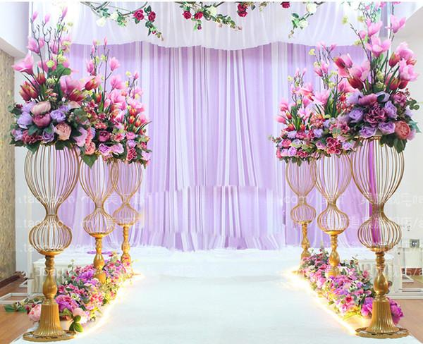 89 cm de hauteur métal route de mariage mène stand de fleurs allée de mariage décorations 2020 route brillant or conduire vase à fleur