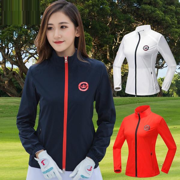 Roupas femininas Jaqueta de Golfe Completo Manga Comprida Com Zíper Fato de Golfe Senhoras Protetor Solar Blusão Run Tênis Sportswear D0684